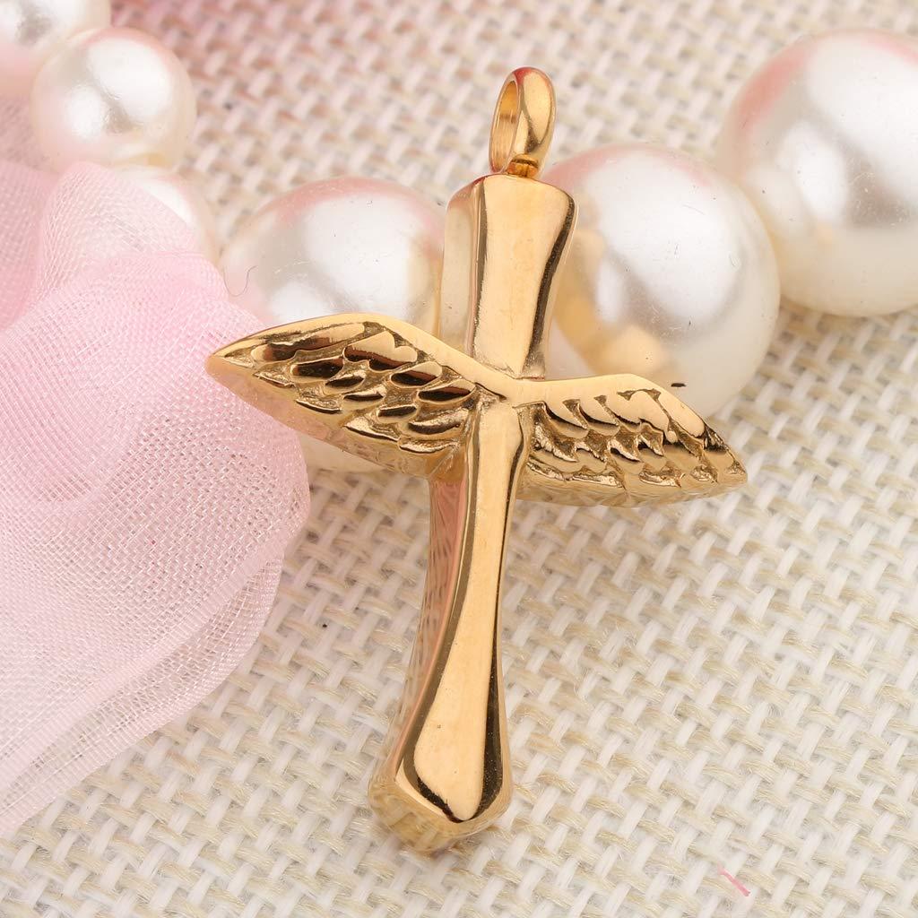 Black+Gold SM SunniMix 2Pcs//Set Angel Wing Cross Urn Necklace Pendant for Ashes Keepsake Cremation Jewelry