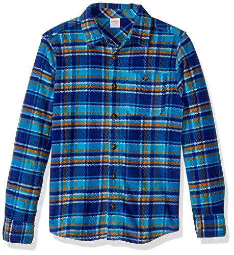 (Gymboree Boys' Little Long Sleeve Polar Fleece Knit Shirt, Navy/Orange Plaid, M)