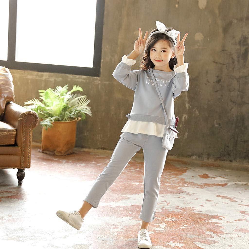 Shan-S Kids Little Girls Sweatshirt Cute Letter Printed Sweater Tops Ruffle Pantskirt Tracksuit Rabbit Bag Outfits
