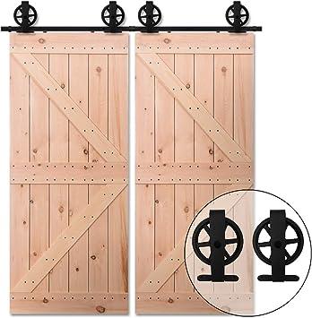 Moderno juego de perchas de madera para puerta corredera de armario, juego de perchas para montaje superior de rueda grande para puerta doble: Amazon.es: Bricolaje y herramientas