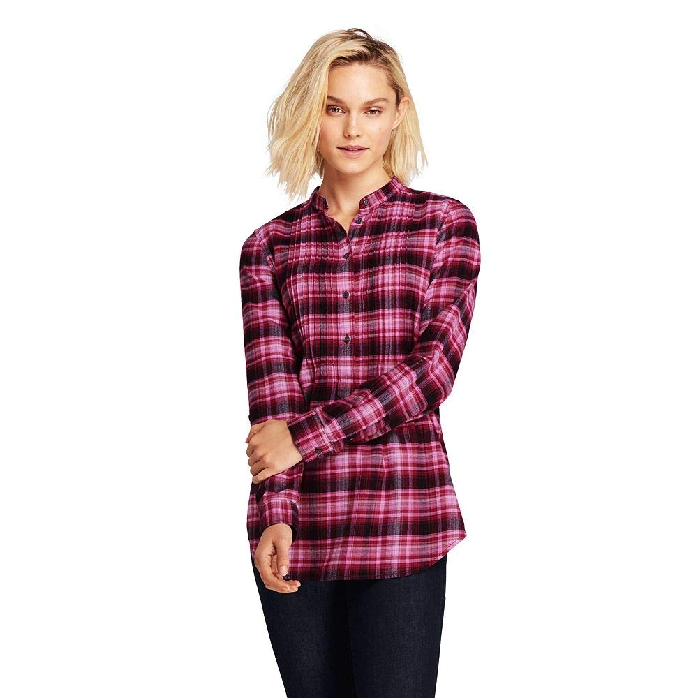 Lands End Womens Petite Flannel Tunic Top