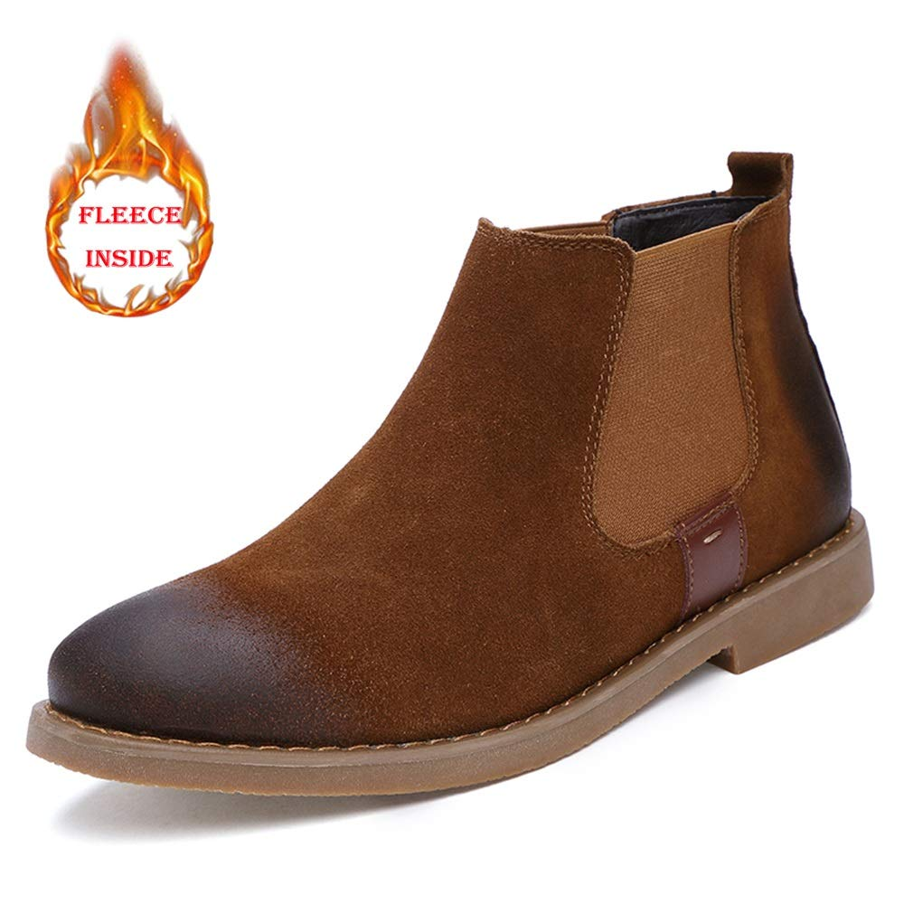 DADIJIER Mens Chic Chelsea Boots Casual Slip On Polish Retro Winter Faux Fleece Inside Ankle Boot US Conventional Optional Color : Warm Black, Size : 9 D Durable M
