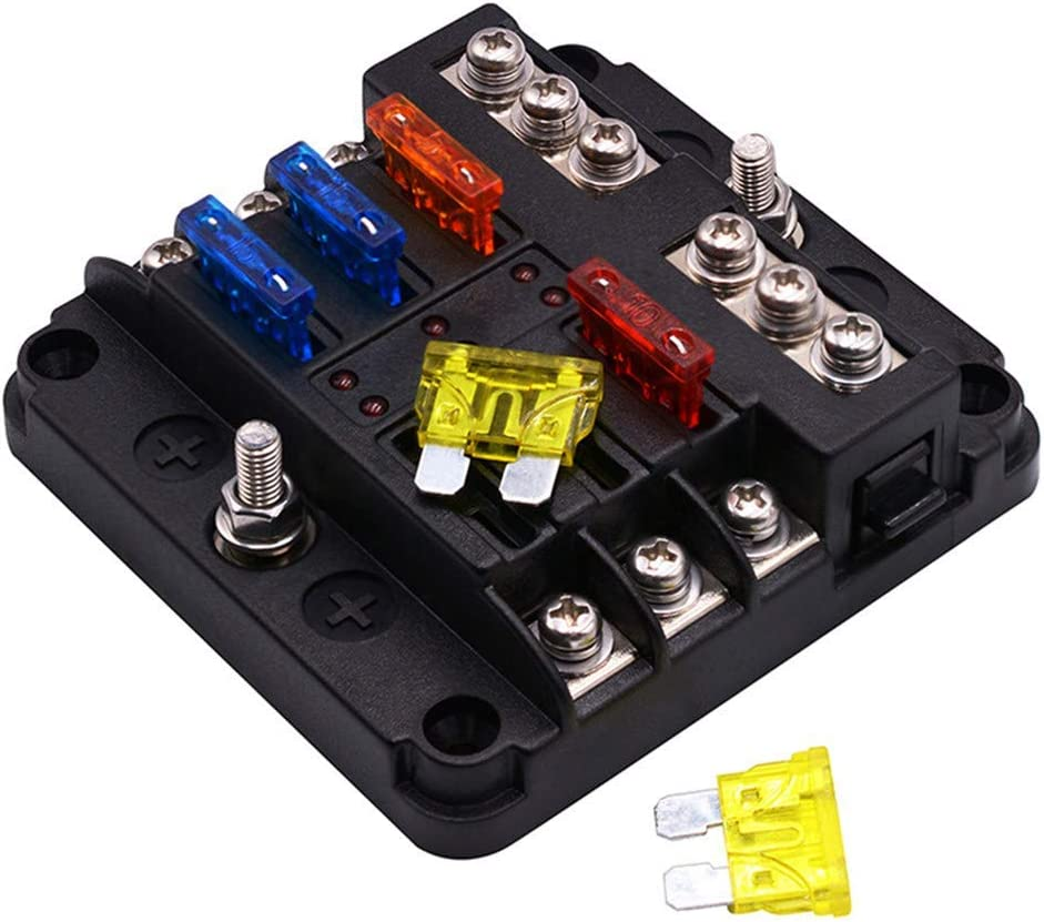 [NRIO_4796]   Amazon.com: 6 Way Fuse Box with LED Light Indication & Protection Cover  Holder Standard Circuit Fuse Holder Box Block for Car Boat Marine Trike Car  Truck Vehicle SUV Yacht RV 12-24V (6-circ | Fastener For Rv Fuse Box |  | Amazon.com