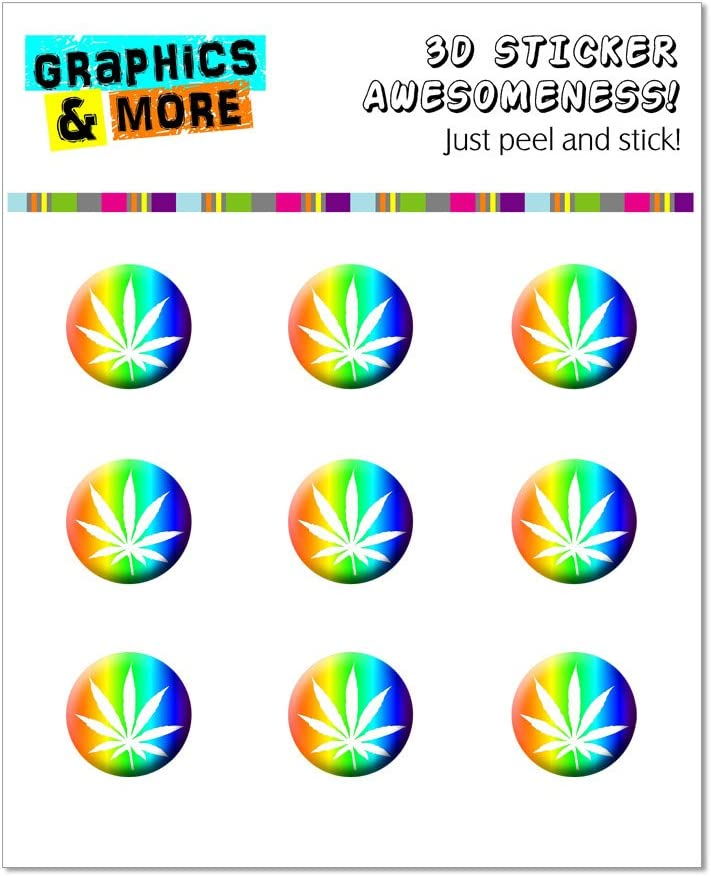 Graphics and More Marijuana Leaf - Rainbow Home Button Stickers Fits Apple iPhone 4/4S/5/5C/5S, iPad, iPod Touch - Non-Retail Packaging - Clear