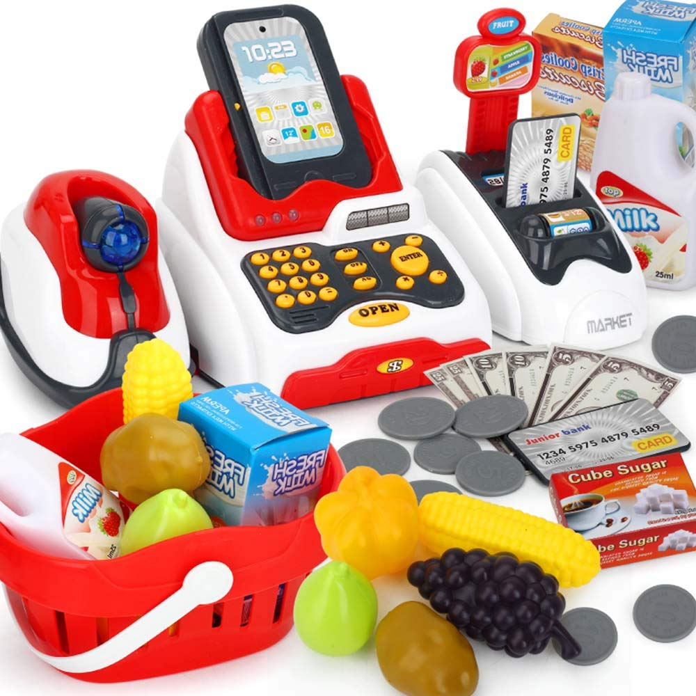 TiTa-Dong Kids Cash Register Toy Playset, Children Supermarket Checkout Toy with Lights Sounds Scanner Redit Card Reader and Groceries, Pretend Play Restaurant/Grocery/Supermarket Cashier Toy by TiTa-Dong (Image #1)