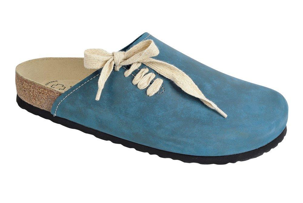 Wörishofer Clog m. seitl.Schnürung 41540 - Zuecos de cuero nobuck unisex, color 39 EU|Azul