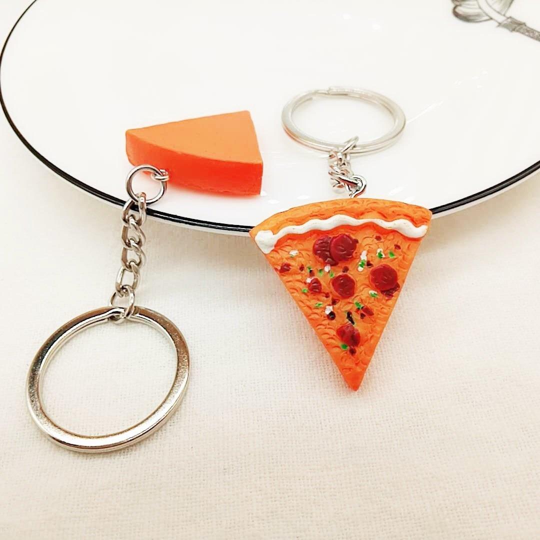 EoamIk Colgante de Pizza Llavero de Resina Bolso de Mano Bolso de Mano Llavero de Regalo (Colorido)