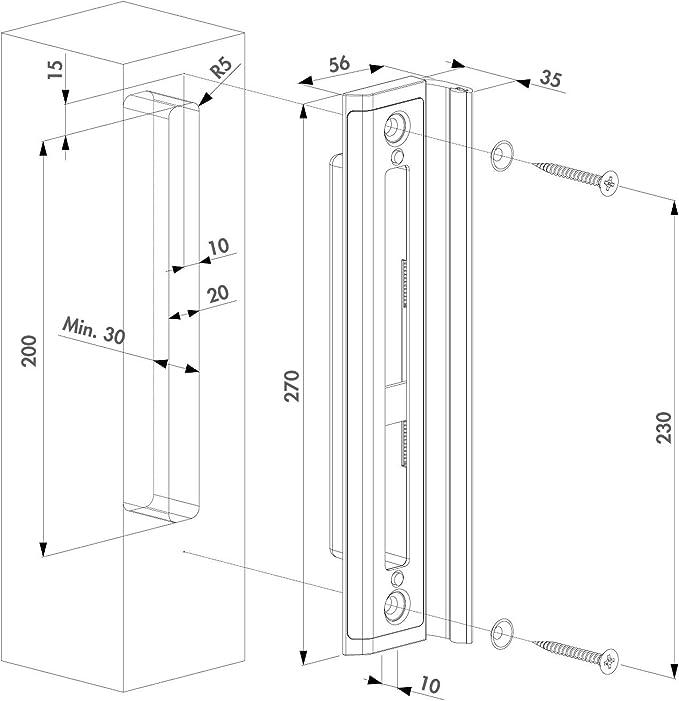 LOCINOX H-Wood-SET - Cerradura de puerta giratoria para puertas de ...