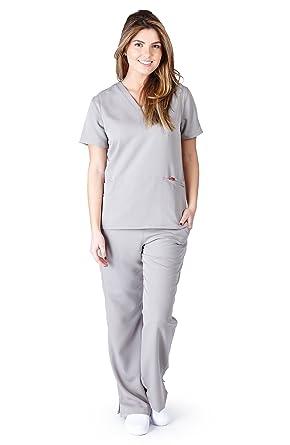 0c90618fc75 Ultra Soft Scrubs - Premium Womens Junior Fit Two Pocket Top and Yoga Pant  Scrub Set