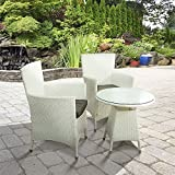 BillyOh Rosario Flat Weave Rattan Couple White Bistro Set - Includes Grey Cushions