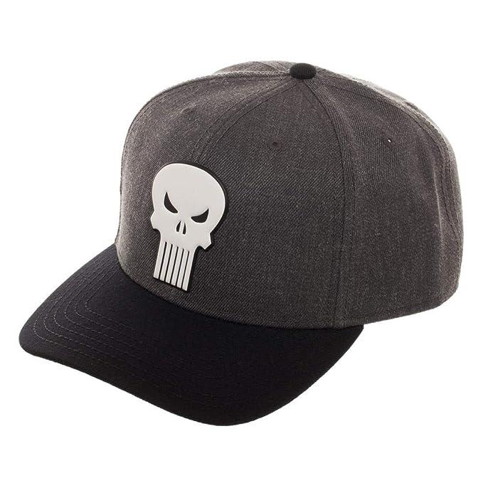 bf618f19e15 Amazon.com  Marvel The Punisher Skull Pre-Curved Bill Snapback Hat ...