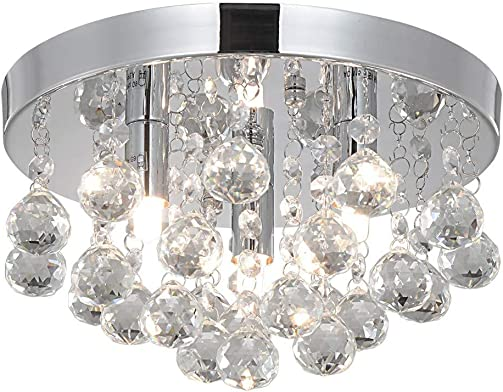 Modern Round Crystal Chandelier Light, 3 Light Small Flush Mount Ceiling Light Crystal Ceiling Lamp Chandelier Light Fixture for Hallway, Bedroom, Living Room, Dining Room, Kids Room-G9x3 Required
