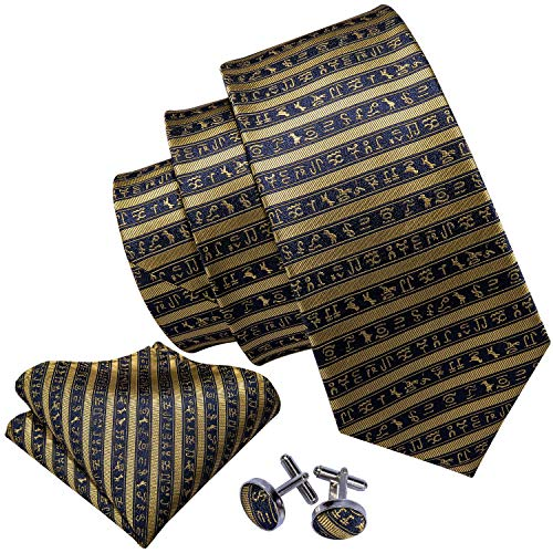 - Barry.Wang Black and Gold Ties Designer Party Necktie Set Silk