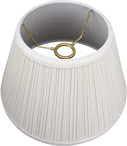 FenchelShades.com Lampshade 6.5 Top Diameter x 12 Bottom Diameter x 7.5 Slant Height with Threaded Uno Attachment for Downbridge or Gooseneck-Style Lamps Pleated Cream