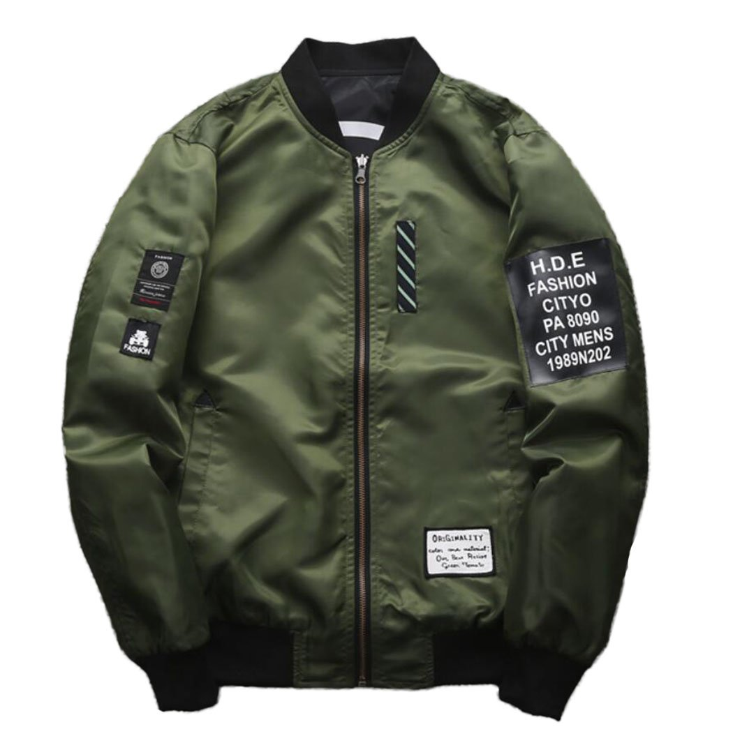 Amoystyle Men's Fashion Reversible Baseball Jacket Army Green Asian 2XL