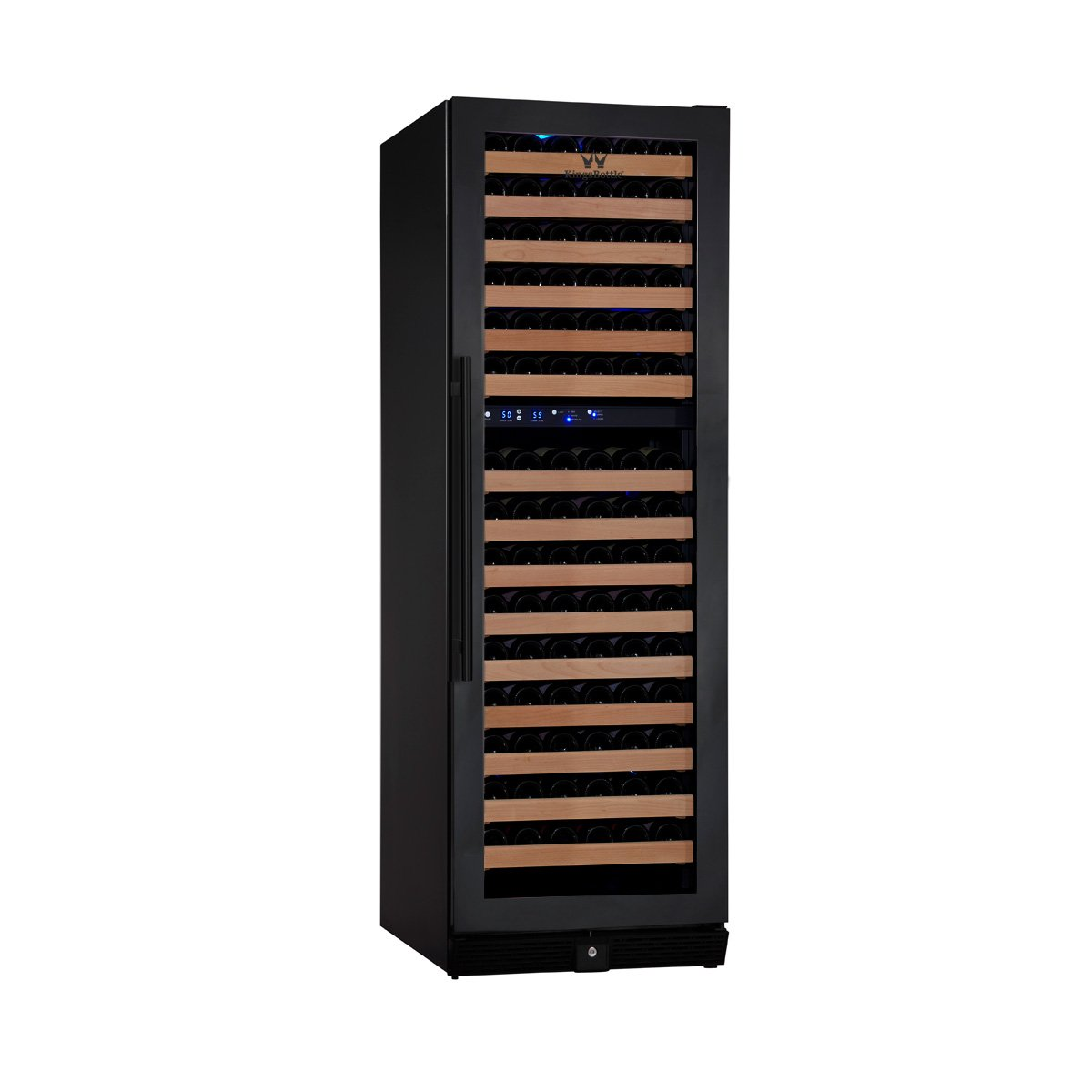 KingsBottle 164 Bottle Dual Zone Wine Cooler, Black with Glass Door