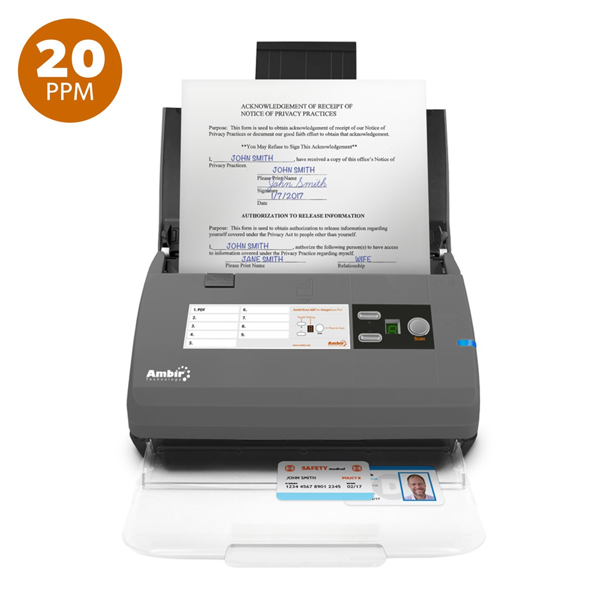 Ambir ImageScan Pro 820ix (DS820ix-AS) High-Speed Duplex Document and ID Scanner with Automatic Document Feeder and 20 Pages Per Minute Scanning (Includes AmbirScan ADF Software and TWAIN driver)