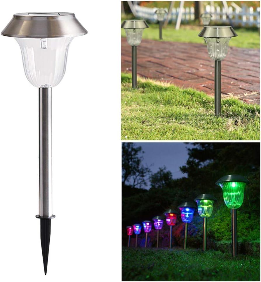 Mobestech Lampada da Prato Solare Lampada da Giardino Solare in Acciaio Inossidabile Luce Solare per Giardino 4 Pezzi