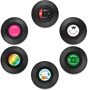 MECOWON Coaster Vinyl Record Retro Coasters with Funny Labels, Set of 6 Drink Coasters with Gift Box - Tabletop Protection Prevents Furniture Damage