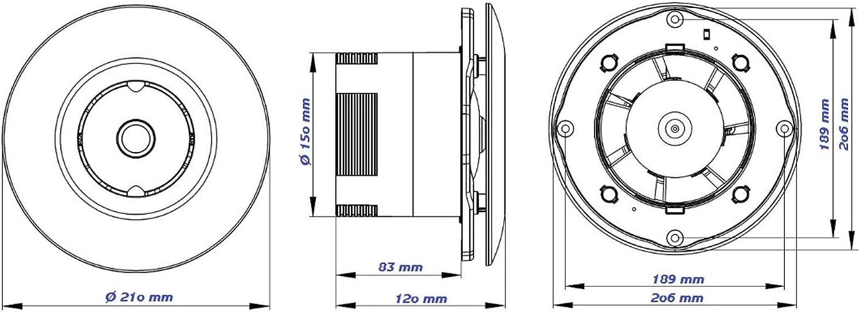 VONLIS Ventilateur mural /à basse tension rond standard 12 V avec capteur dhumidit/é