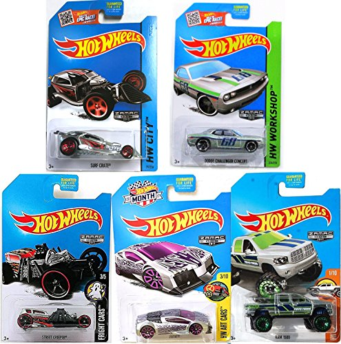 Hot Wheels Zamac Edition Car Collection dodge challenger concept #234 & Zotic Art Car + Fright Cars Street Creeper Exclusive Surf Crate #71 HW City & Ram 1500 Pickup 5-Pack (Halloween Fright Night Movie World 2017)
