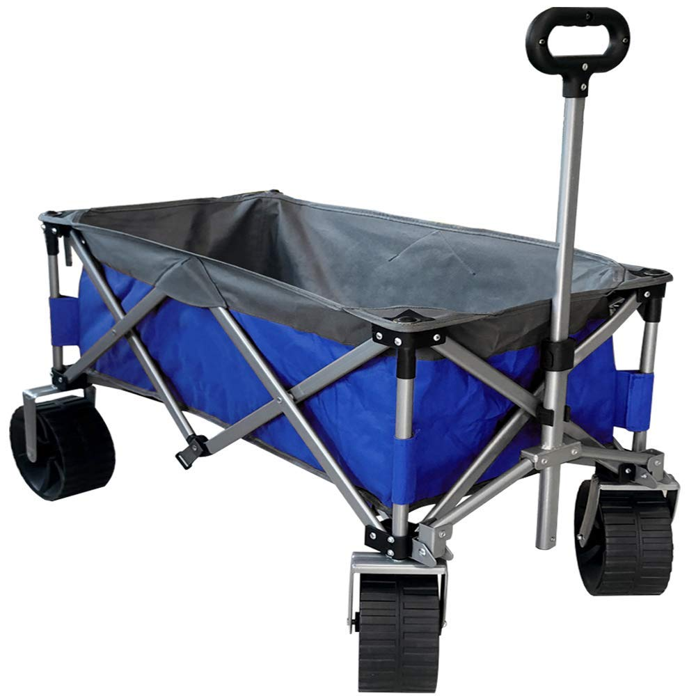 Eurmax Sports Collapsible Sturdy Steel Frame Garden Carts on Wheels Utility Beach Wagon Cart with Big Wheels,Bonus 8x8Ft Picnics Mat (Blue & Gray)