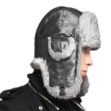 e10a278d8a1 Kenmont Winter Men Genuine Leather Natural Rabbit Fur Ski Trapper Aviator  Hat Cap (M-