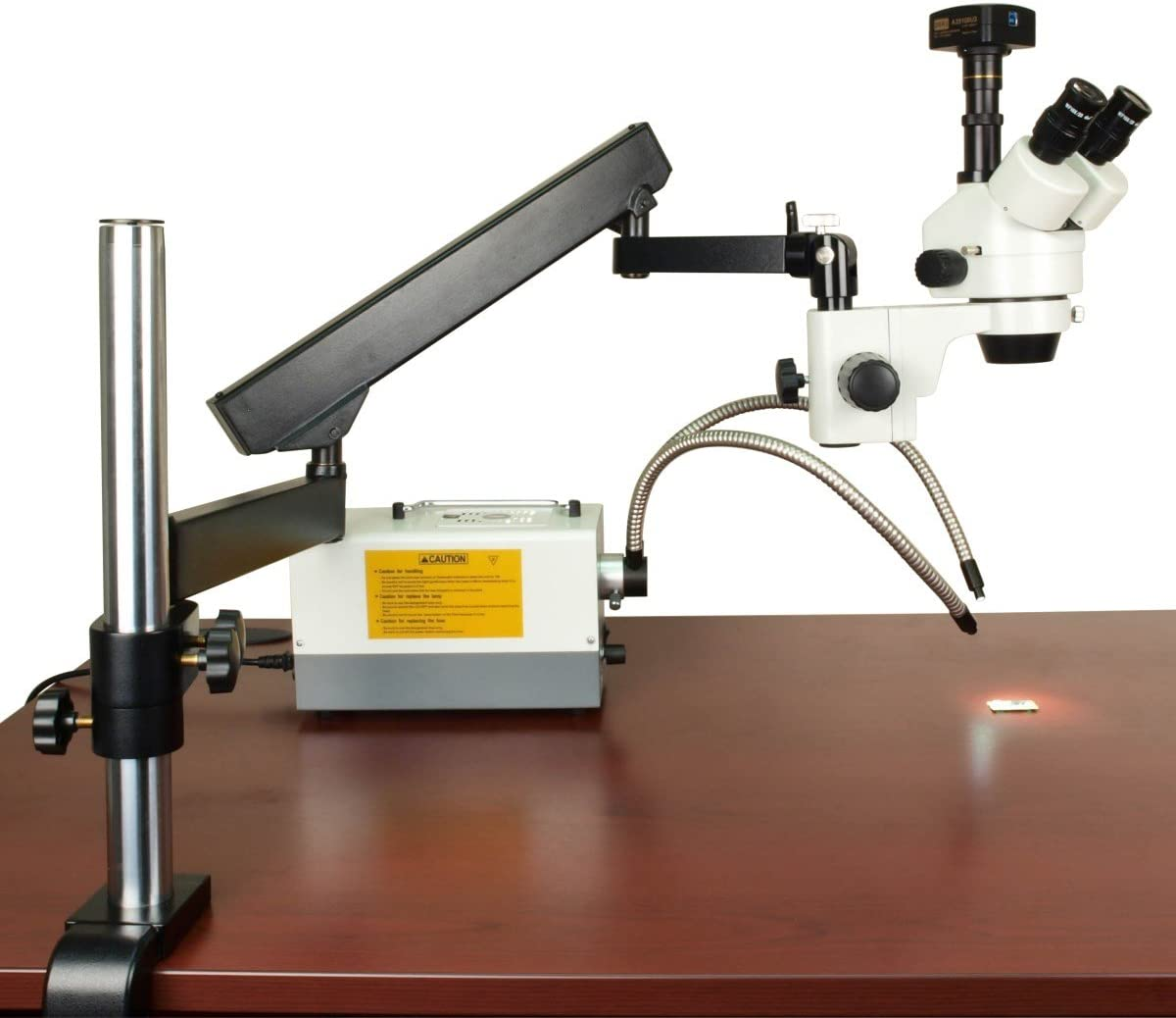 OMAX 2.1X-270X USB3 10MP Trinocular Zoom Stereo Microscope on Articulating Arm with 150W Dual Fiber Light