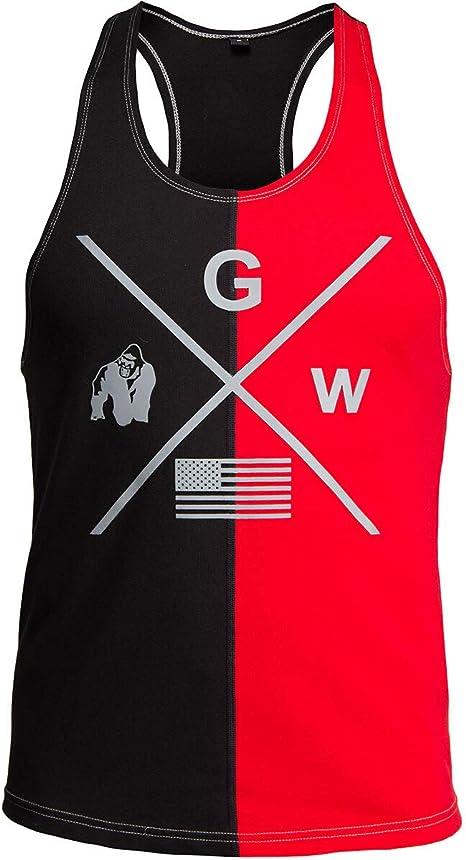 da uomo Canotta in mesh nero//rosso per bodybuilding e fitness Gorilla Wear Sacramento Camo