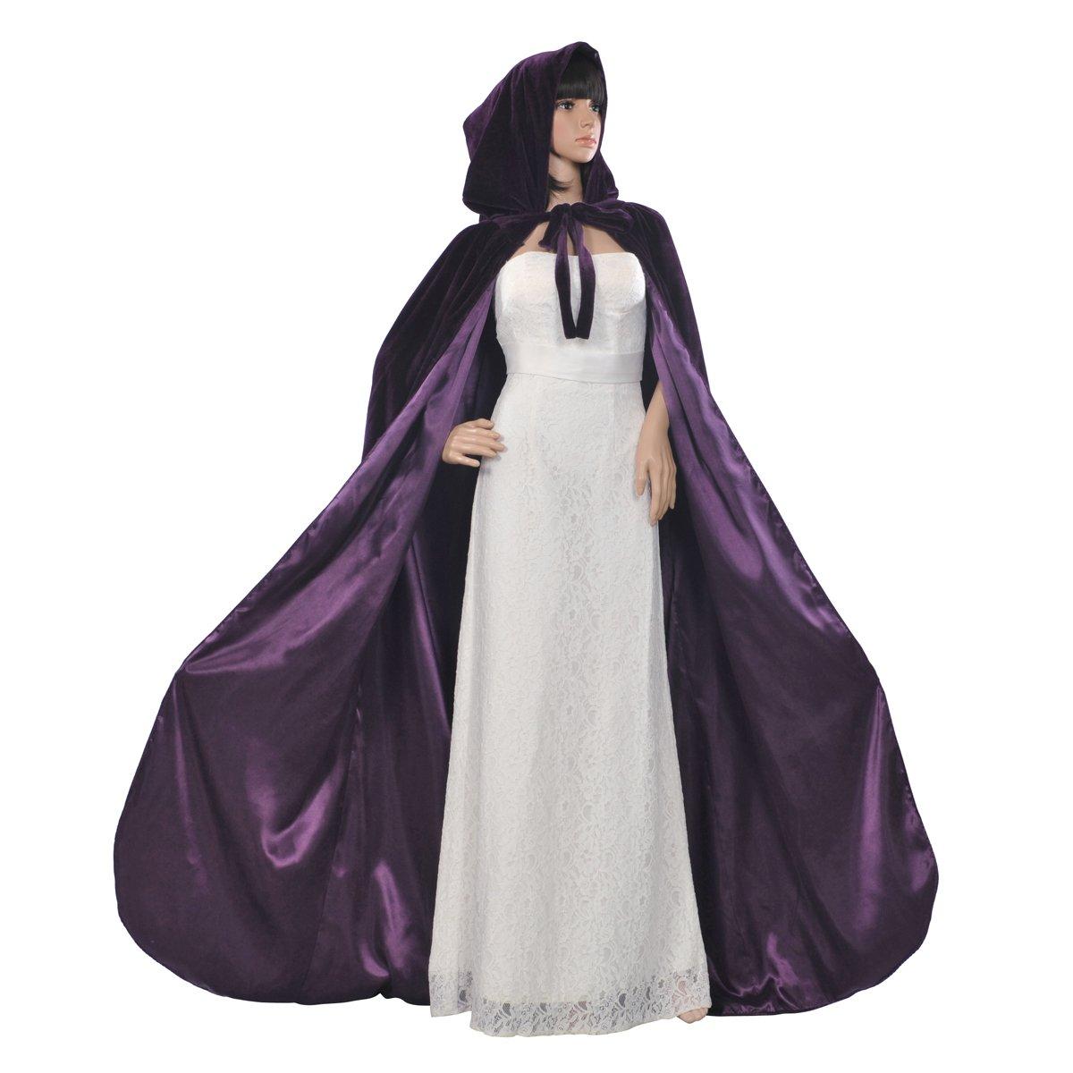 AW Gothic/Medieval Hooded Cloak Long Velvet Cape for Wedding Halloween Cosplay Christmas Custumes, Grape, XXL