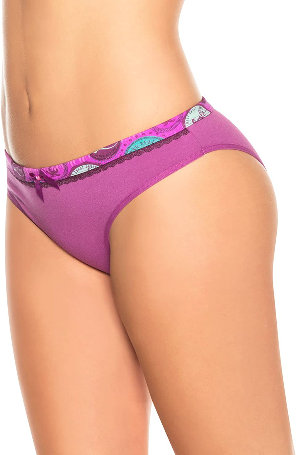 Laura Womens Bikini Cotton Underwear Waist Prints
