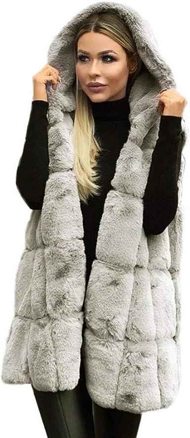 Femme fausse fourrure sans manches gilet veste manteau hiver chaud Outwear gilet sans manches