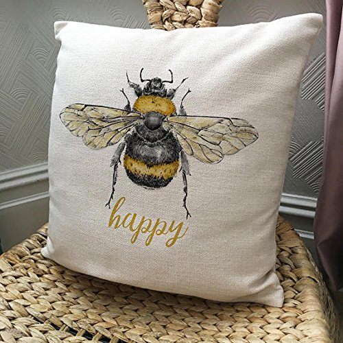 (Pillow Cover Bee Cushion Bee Happy - Be Happy - Honey Bumble Bee vintage Illustration artwork - Home Decor)