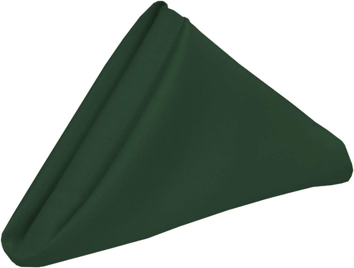 Your Chair Covers - 20 Inch Square Premium Polyester Cloth Napkins 10 Pack - Hunter Green, Oversized, Double Folded and Hemmed Table Linen Napkin, Restaurant and Hotel Multi Use