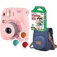 Câmera Instantânea Fujifilm Instax Mini 9 Com 3 Filtros Coloridos, Bolsa e Filme 10 Poses – Rosa Chiclé, Fujifilm…