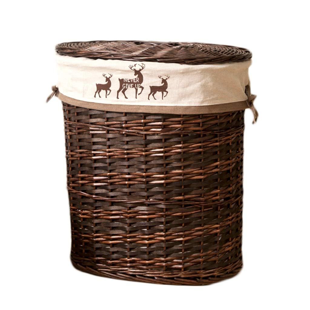 Wäschekörbe Rattan mit Deckel Haushalt tragbare Baumwolle Futter dreckig Hamper Kleidung Kleinigkeiten Indoor Storage Basket 41 * 30 * 46 cm