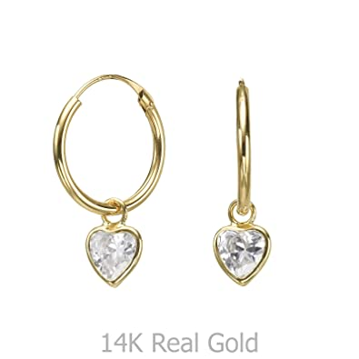 f8113974b Image Unavailable. Image not available for. Color: 14K Solid Yellow Gold  Hoop Charm Earrings ...