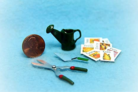 Amazon com : Dollhouse Gardening Set Watering Can, Tools