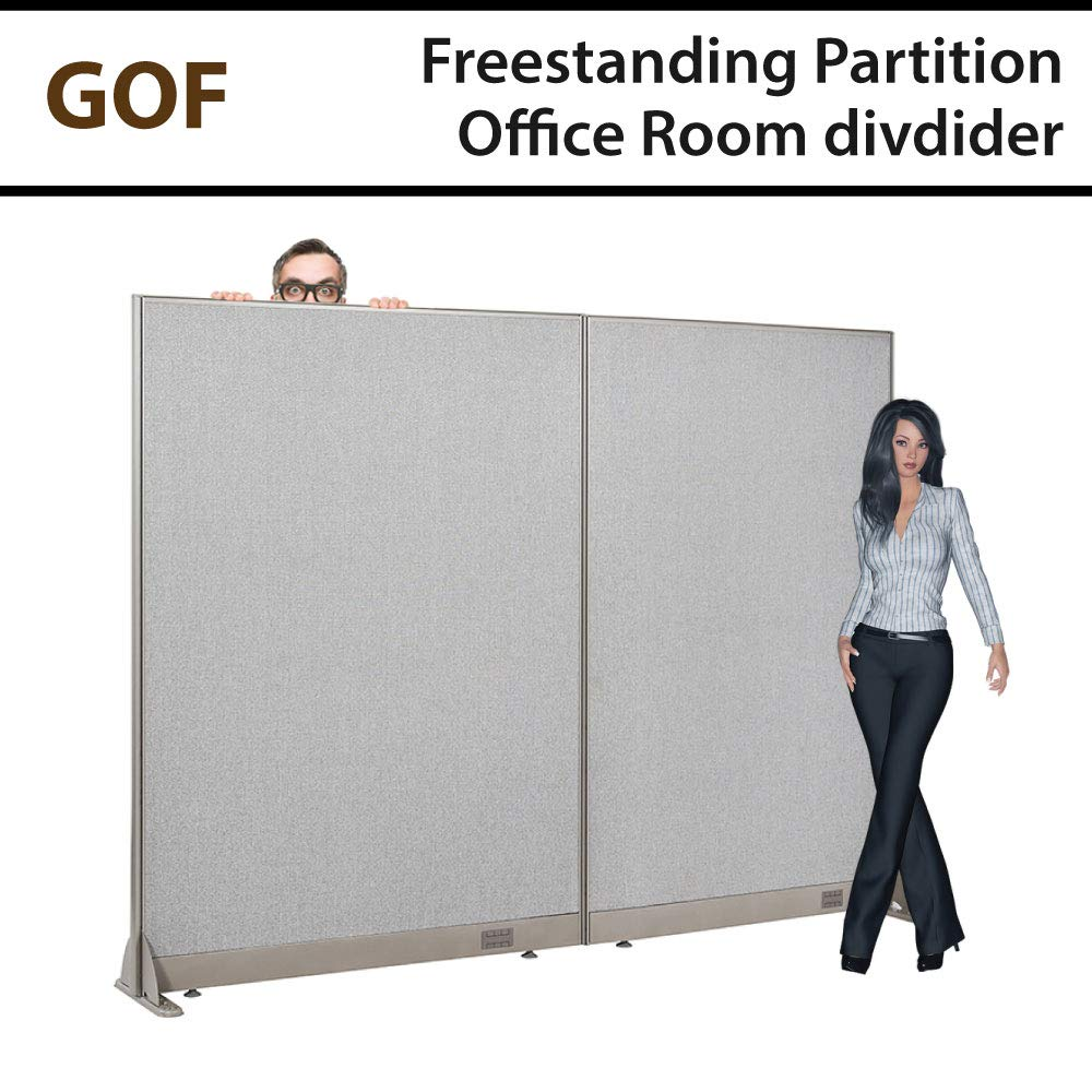 GOF Freestanding Office Partition, Large Fabric Room Divider Panel, 84'' W x 72'' H by GOF