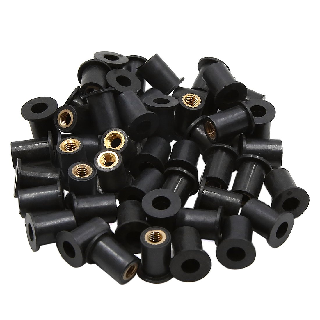 Sourcingmap 50pcs M5 Black Rubber Windscreen Windshield Screws Bolts Nut for Motorcycle a18051700ux0006