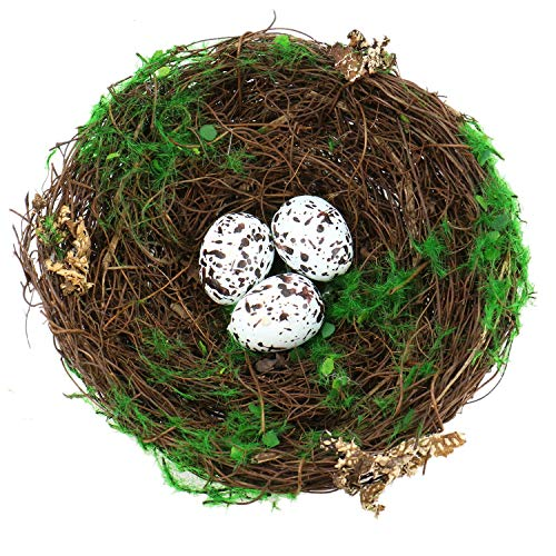 JETEHO 6'' Inches Artificial Bird Nest Decorative with Fake White Spotted Eggs for Gardening Decoration