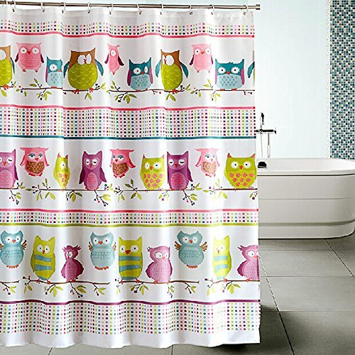 Fun Kids Shower Curtain | Simple and Colorful 72x72 Inch Owl Design Bath Curtain For Children with Durable Premium Polyester Material to Keep Floors Dry During Bath Time | Free 12 Hooks