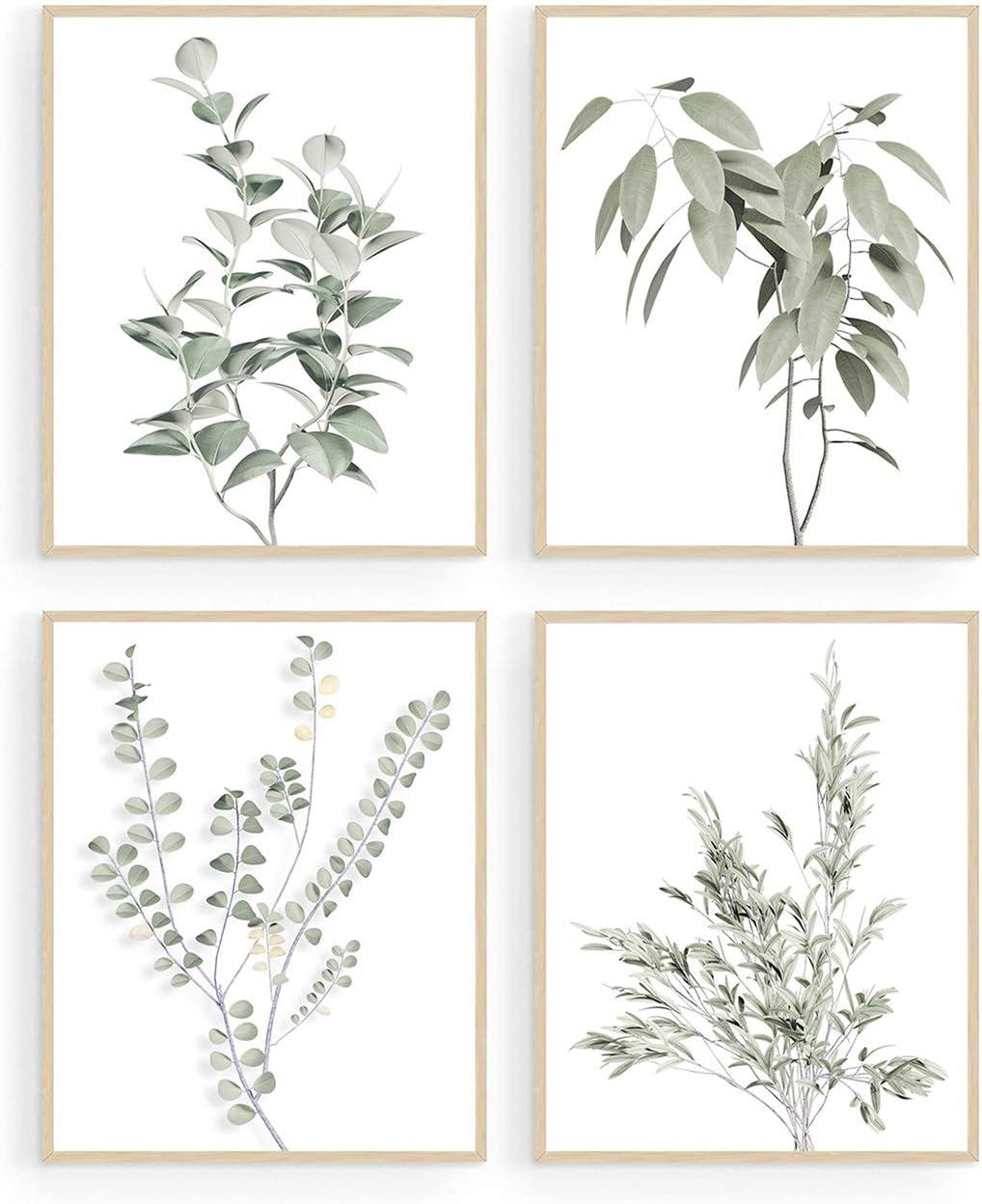 Botanical Plant Wall Art Prints, Minimalist Wall Art, Boho Wall Decor, Green Leaves Eucalyptus Pictures Poster, Plant Wall Decor, Bathroom Wall Decor, Kitchen Wall Decor (Set of 4, 8X10in, Unframed)