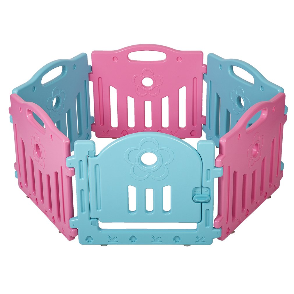 Baby Playpen 6 Panel Playard Kids PlaySafe Activity Center W Locked Door