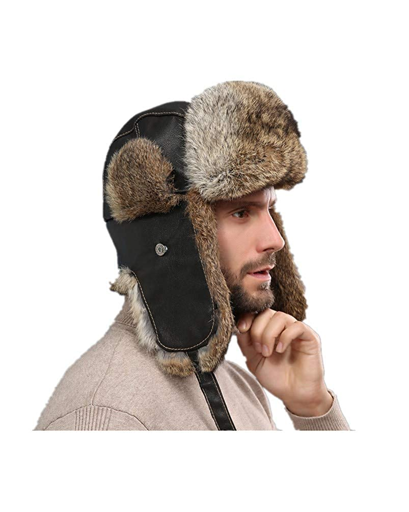 LVCOMEFF Men Real Sheep Leather Rabbit Fur Bomber Hat with Earflap Russian Hat Warm 18NOVH0012