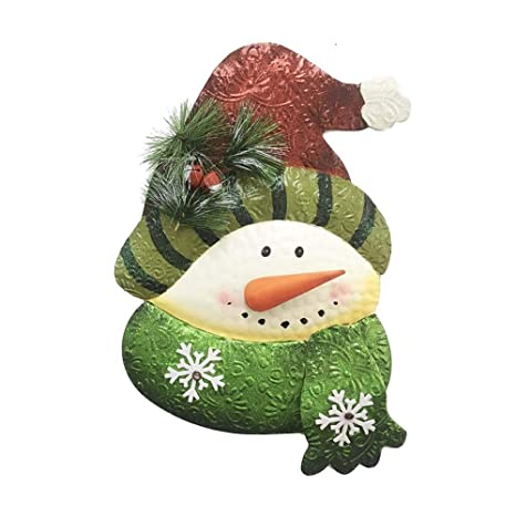 Outdoor Snowman Christmas Decorations.Y K Decor Snowman Wall Hanging Decoration Metal Snowman Christmas Ornaments Indoor Outdoor Holiday Decorations
