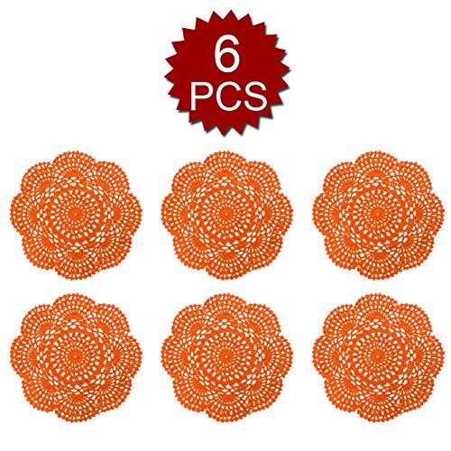 (Aspire 8 inches 6pcs / Set Handmade Crochet Lace Round Tablecloths Cotton Hollow Decorative Doilies-Orange)