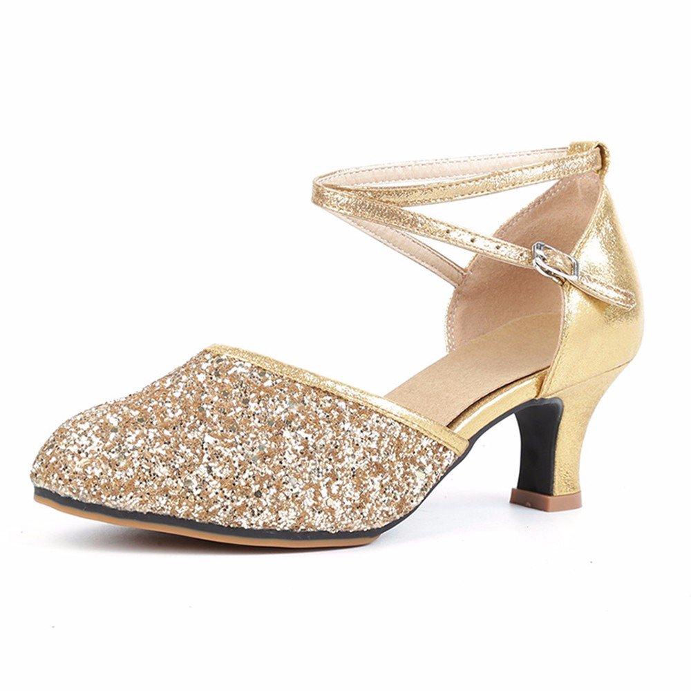 L'or Masocking@ Femme Chaussures de Danse Sandales Boucle de sol en caoutchouc carré US8 EU39 UK6 CN39