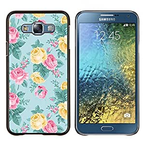 Dragon Case - FOR Samsung Galaxy E7 E7000 - rose teal pink yellow floral pattern - Caja protectora de pl??stico duro de la cubierta Dise?¡Ào Slim Fit