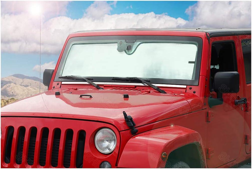 Bolaxin Latest Upgrade Front Windshield Sunshade Sun Shade Compatible Jeep Wrangler 2007-2019